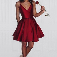 Red Short Homecoming Dress, Deep V Neck Homecoming Dresses