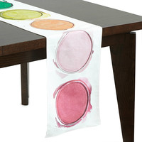 Watercolor Table Runner | linen cloth, paint palette