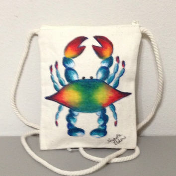 Wallet Purse with Hand Painted Blue Crab