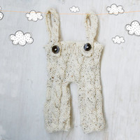 Natural look Newborn Photo Prop / Newborn overall, baby boy, baby girl / Knit baby Pants / Suspender pants