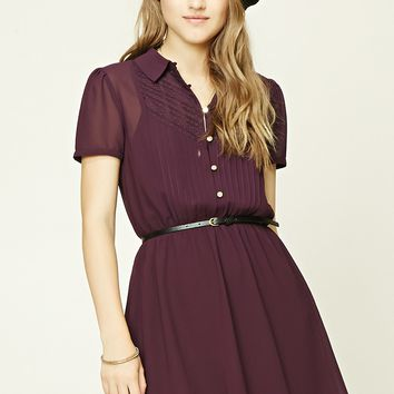 Belted Pintuck Mini Dress
