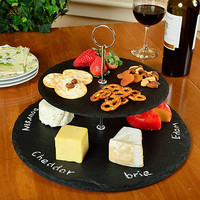 Picnic at Ascot Serat 2-Tier Slate Cheese Board