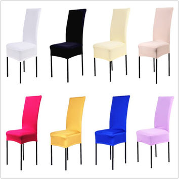 1 Piece 13 Solid Colors Polyester Spandex Dining Chair Covers For Wedding Party Chair Cover Brown Dining Chair Seat Covers V30