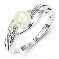 Sterling Silver w/Rhodium Plated Diamond and FWC Pearl Ring