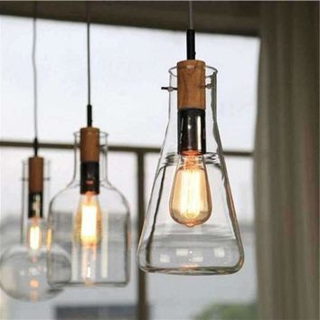 Modern Clear Glass Laboratory Bottle Pendant Light Fixture DIY Home Decoration Dinning Room Bar Cafe Wood E27 Bulb Pendant Lamp