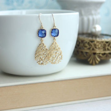 Cobalt Blue Stone Earrings, Matt Gold Filigree Drop Earrings, Everyday Earring, Modern Jewelry, Birthday Gift Bridesmaid Gifts, Blue Wedding