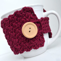 Cotton Coffee Mug Cozy, Wine Colored, Crocheted Mug Cozy, Cup Sleeve