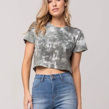 SKY AND SPARROW Tie Dye Womens Boxy Crop Tee