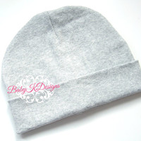 GREY / Gray Silver Boys Beanie/ Baby Boy hat / Baby Beanie / Unisex Boy Beanie / Cotton Beanie / Baby Girls 15 COLORS Two Sizes