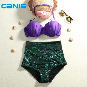 2016 New CANIS Mermaid Bikinis Set High Waist Natural Color Summer Swimsuit Push Up Slim Plus Size Swimwear