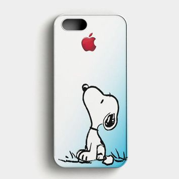 Snoopy Gradient Pink Mint Custome Apple Logo iPhone SE Case
