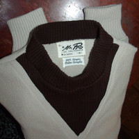 Vintage Sweater Retro V-Neck Mock Turtleneck