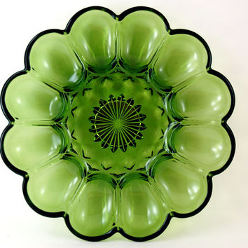 Vintage Green Glass Deviled Egg Server or Oyster Plate, Anchor Hocking Fairfield Pattern, Avocado Green Glass