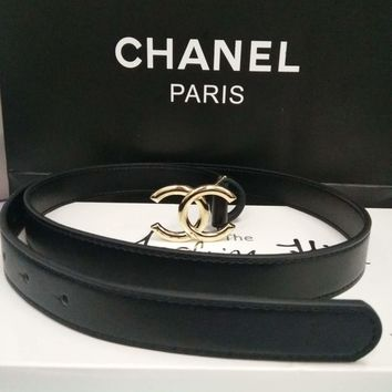 Chanel Women Black Belt Hot Fashion Gold Buckle Small Belt B-GZ-ZNPDC
