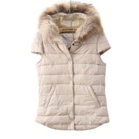Buy Warming Pattern Down Embellished Vest White with cheapest price|wholesale-dress.net