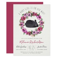 Watercolor Floral Wreath Girl Bear Baby Shower Invitation