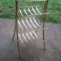 Tiered Magzine Rack 3 Tier Hollywood Regency Towel Rack Faux Brass Bamboo Vintage
