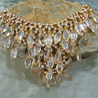 Vintage Gold and Clear Rhinestone Costume Jewelry Necklace