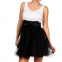 Melody-Black/White Homecoming Dress