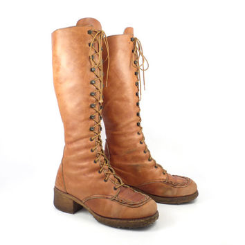 Tall Lace Boots Vintage 1970s Zodiac Distressed Up  Carmel Tan Brown Leather Women's  size 9