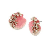 FESTIVAL MERMAID SHELL STUD EARRINGS PINK