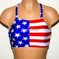 American Flag High Neck Halter Bikini Top, Criss Cross Adjustable Swimwear Bikini Top, 4Th Of July Bathing Suit, Festival Top Spandex Bikini
