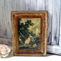 Vintage Framed Art, Small Wooden Distressed Vintage Art with Dog, Gold Very Distressed Frame, Lady with Guitar, Shabby Chic