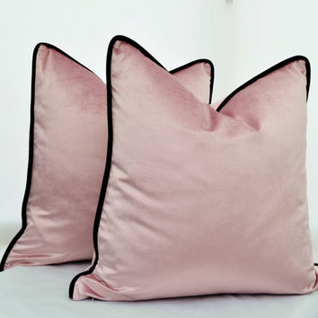 Pink Velvet Pillow Cover,Pink  Pillow Cover , Dusky Rose Pillow Cover,Blush Pink Pillow Cover,Pillow Cover with Black Piping