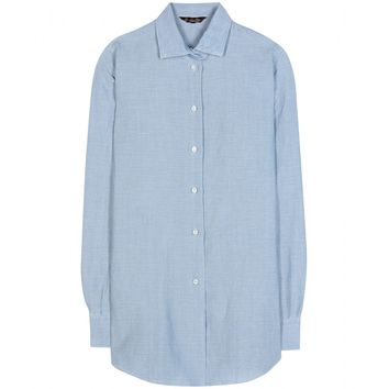 loro piana - kara cotton and linen-blend shirt