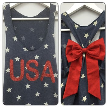 GLITTER Bow Tank Top, Star Tank Top, 4th of July Tank, American Flag Tank Top, Country Tank, Councert Tank, Star Tank