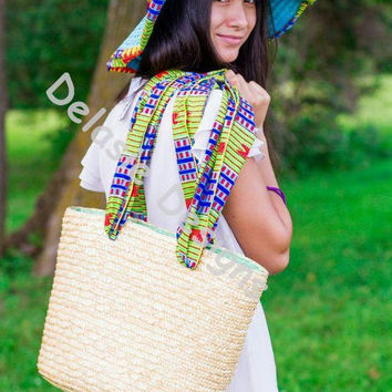 Straw Sun Hat and Straw purse with African Print