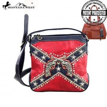 Montana West Rebel Flag Six Shooter Crossbody Handbag