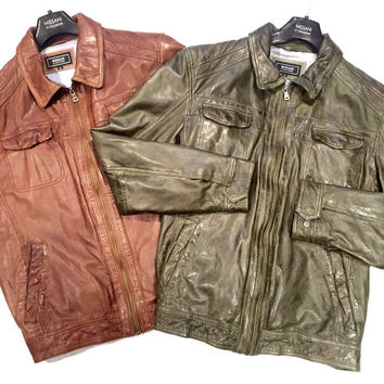 Missani Men's Antique Naked Lamb Skin Jackets