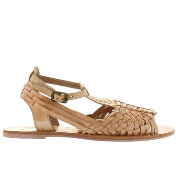 Rebels Nadia-2 - Natural Leather Huarache Ankle Strap Flat Sandal