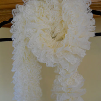 Pretty Lace Knit Scarf, ivory lace scarf,