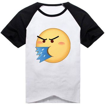 LMFON 18Colors Emoji Emoticons Smiley Faces Funny Faces T-shirt Cosplay Costume Cute Unisex Short Sleeve Tee Shirt Daily Casual Tops