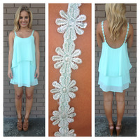 Mint Daisy Strap Low Back Dress