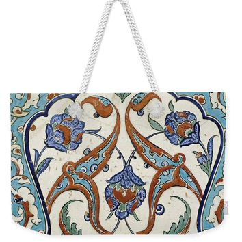 An Ottoman Iznik Style Floral Design Pottery Polychrome, By Adam Asar, No 23 - Weekender Tote Bag