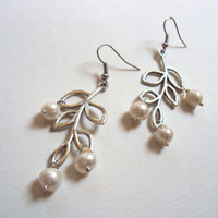 Freshwater Pearl Branch Earrings, Silver