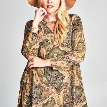 Olive Paisley Print Dress with Keyhole Front