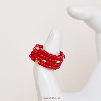 Red & Gold memory wire ring, Memory wire ring, Seed bead ring, Memory wire jewelry, Seed bead jewelry, Adjustable ring, Red ring, Wrap ring