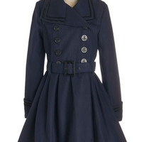 ModCloth Military Long Long Sleeve Double Breasted A Welcomed Moment Coat in Navy