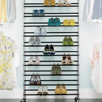 The Container Store > Chrome 10-Tier Rolling Shoe Rack