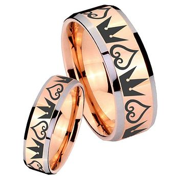His Hers Rose Gold Beveled Hearts and Crowns 2 Tone Tungsten Wedding Rings Set