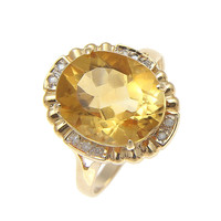 GENUINE 4.50CT OVAL CITRINE & DIAMOND SOLITAIRE RING SOLID 14K YELLOW GOLD