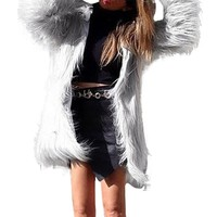 Fashion Jackets Faux Fur coat Womens Winter Warm Long Coat Jacket Faux Fur Parka Outwear Cardigan O-Neck Solid