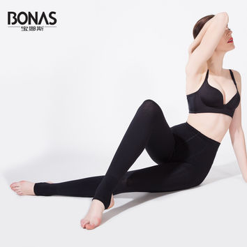 2016 BONAS Free Shipping Women Warm Leggings Winter Stepped Foot Legging 1800D Seamless Breathable Two Pieces