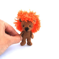 crochet miniature lion, tiny lion, little lion amigurumi lion wee kawaii lion cute little stuffed lion orange brown mini lion birthday party