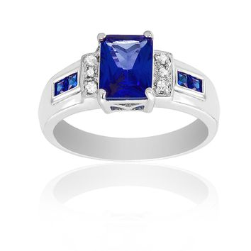 Simulated Blue Sapphire Square Emerald Cut and CZ Ring in Rhodium Plated Brass