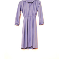 Light Purple Vintage Dress With Long Sleeves, Retro Simple Lilac Everyday Dress